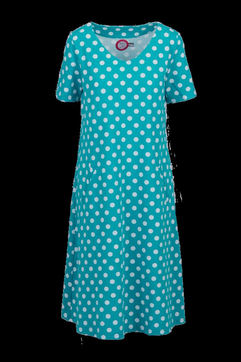 Della petrol og hvit kjole
