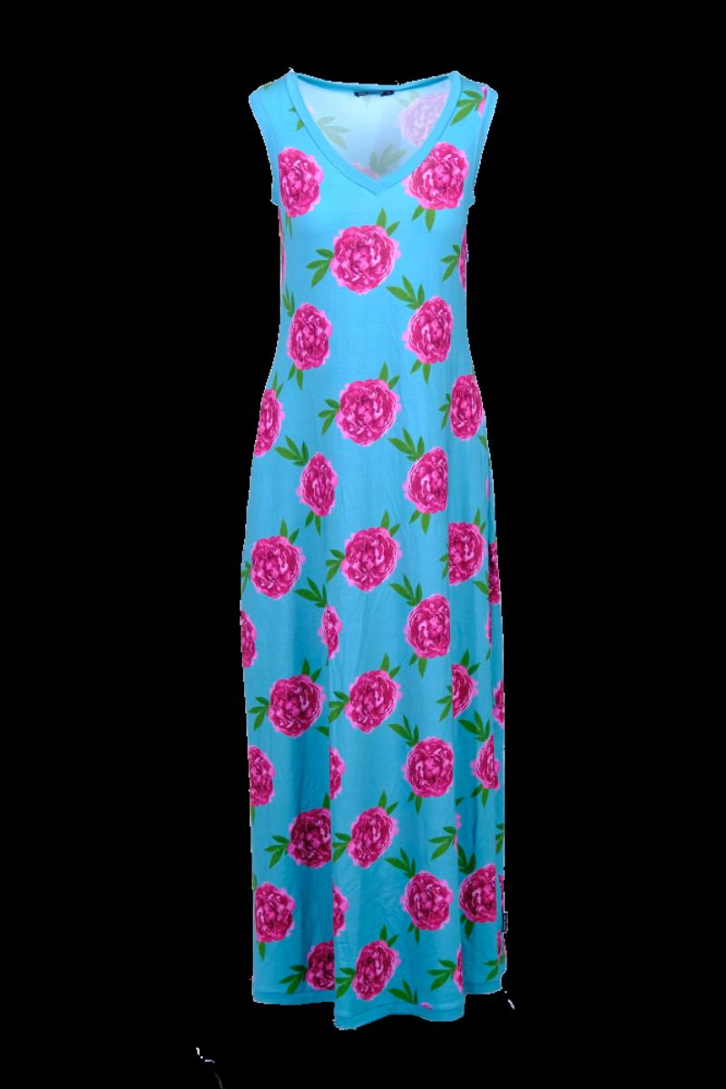 Peon kjole turkis og rosa D 80