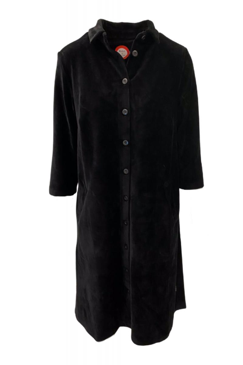 Silje sort skjortekjole