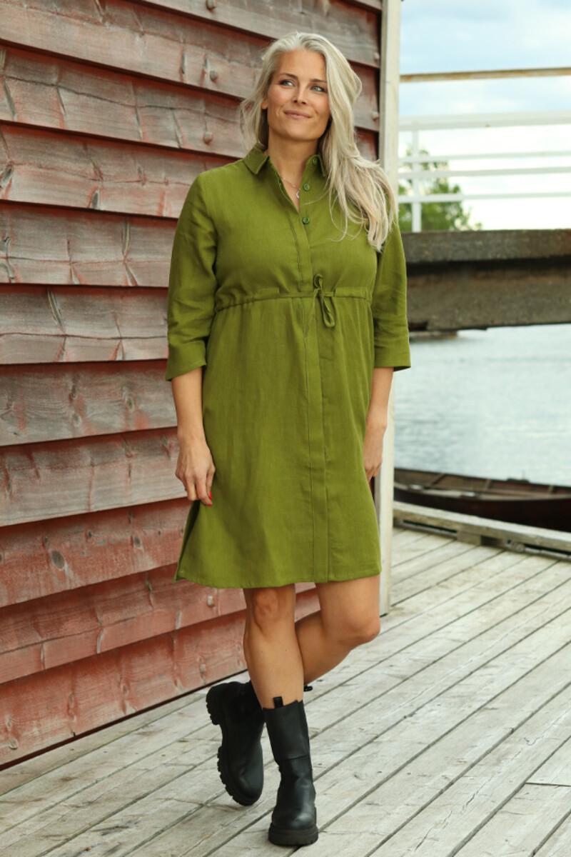 Samanta olivengrønn linkjole/skjorte