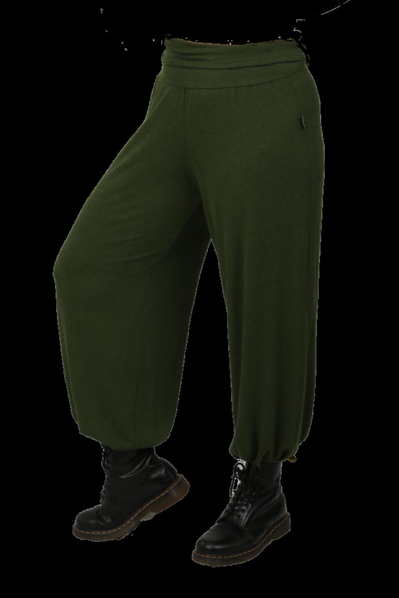 Kristiane grønn baggy bukser wool look