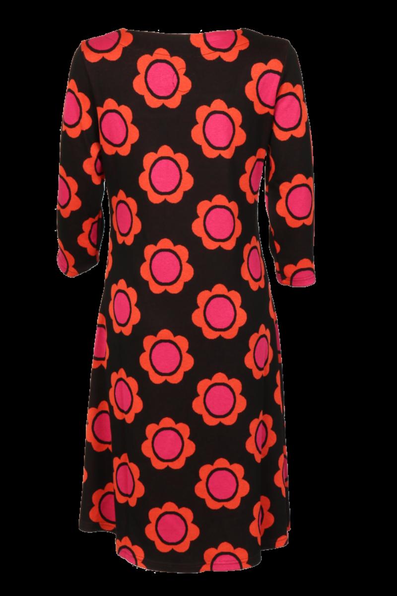 Liva kjole sort oransje rosa