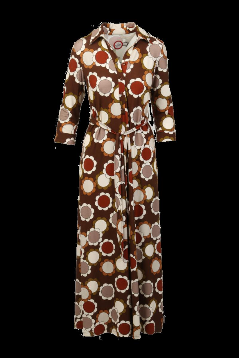 Hilary kjole brun flower power