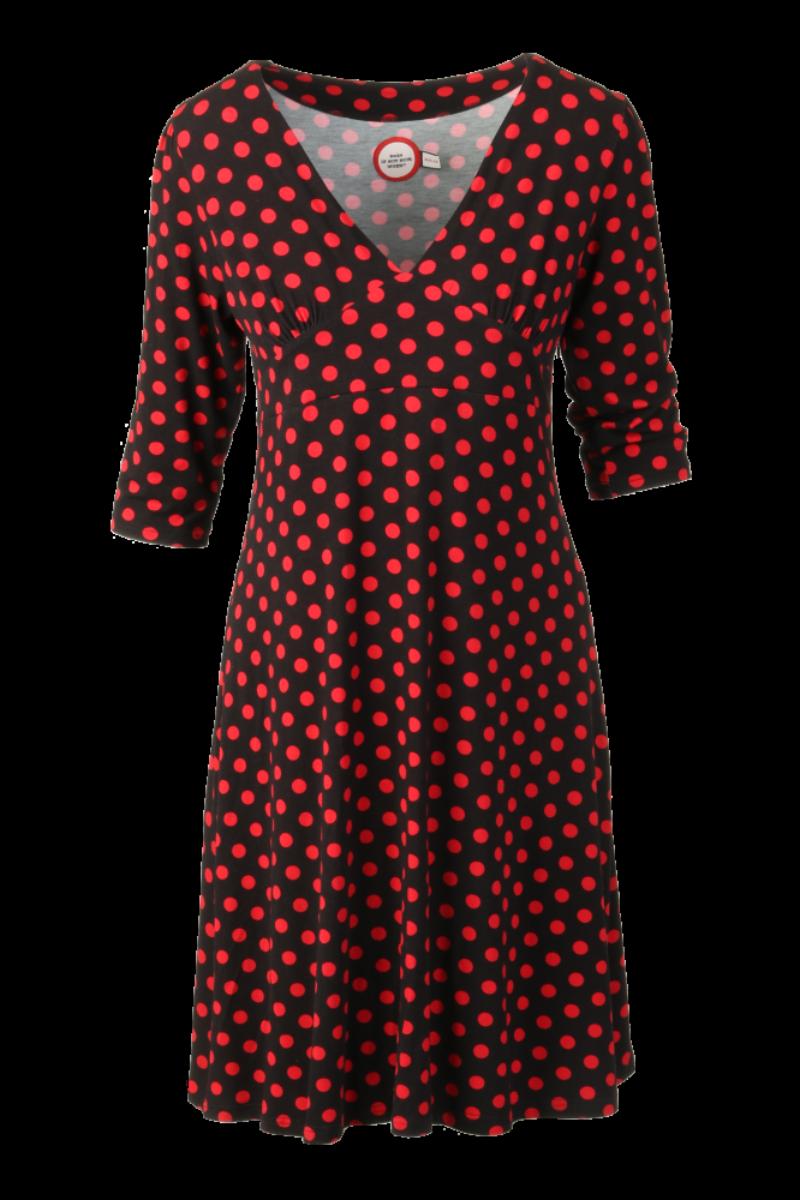 Eirin sort rød polkadot kjole