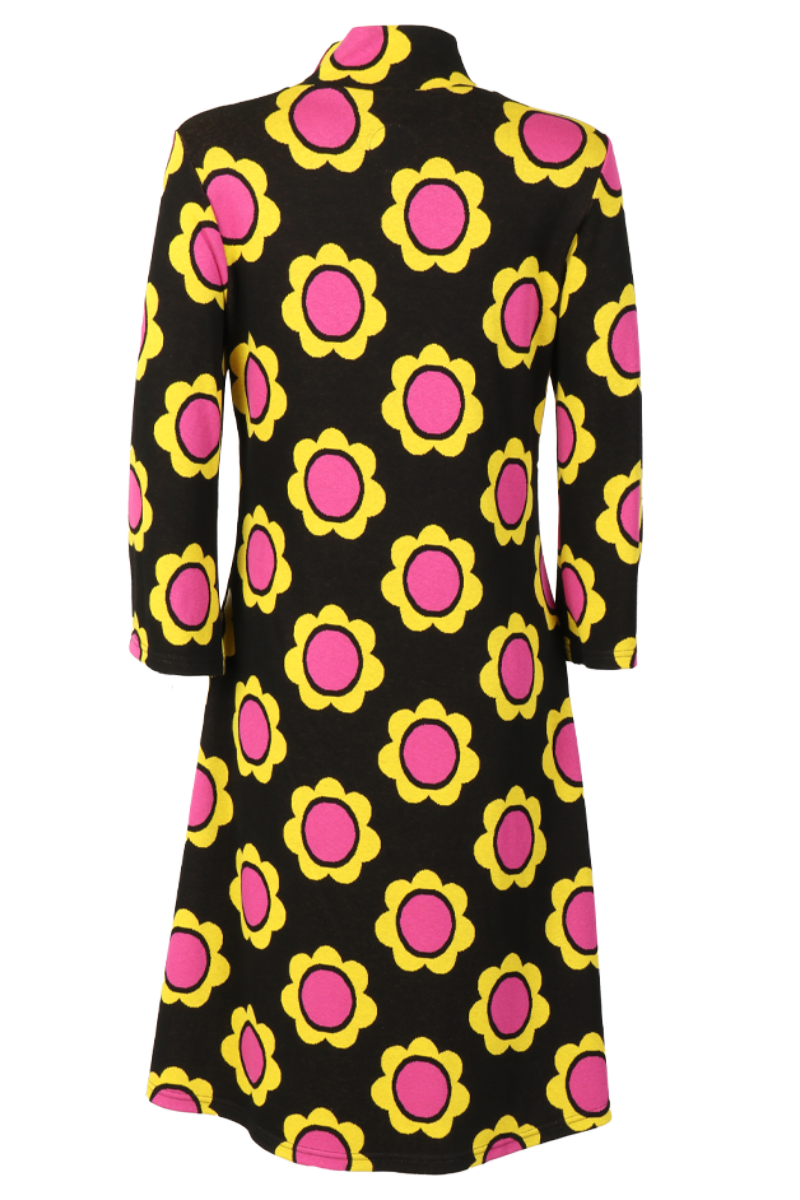 Gudrun Sort gul rosa kjole