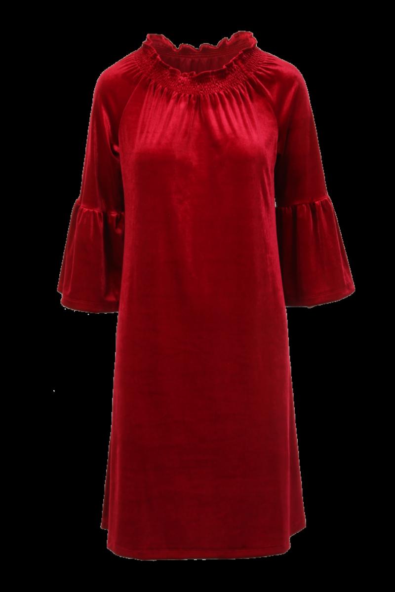 Roberta dyp rød velurkjole