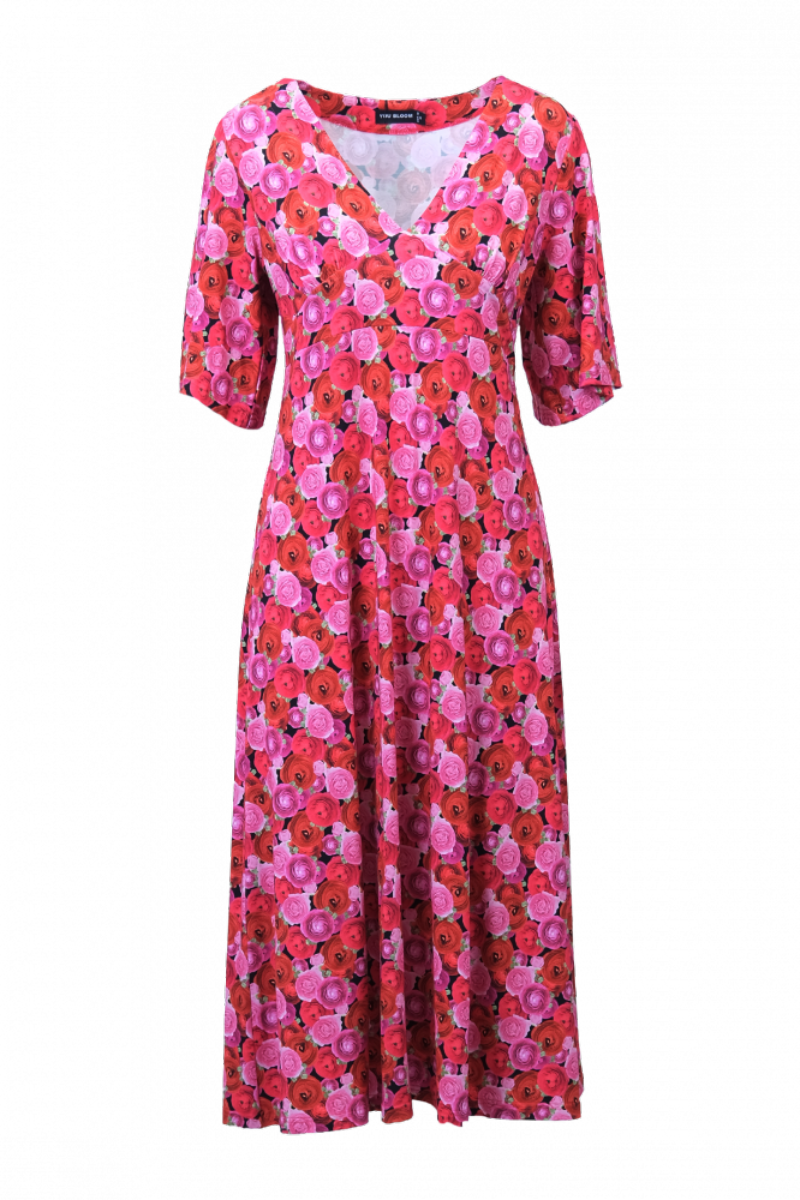 Ranunculus rød blomstret kjole D83