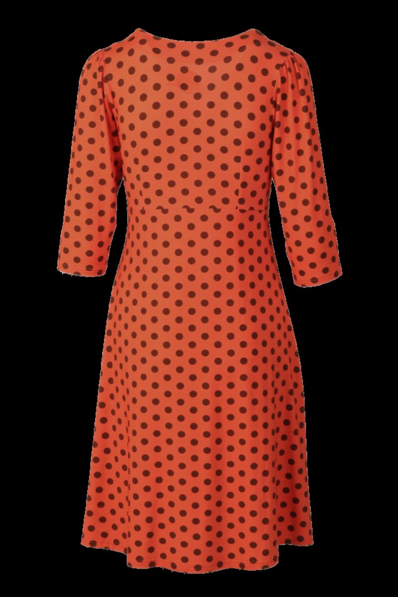 Eirin oransje brun polkadot kjole