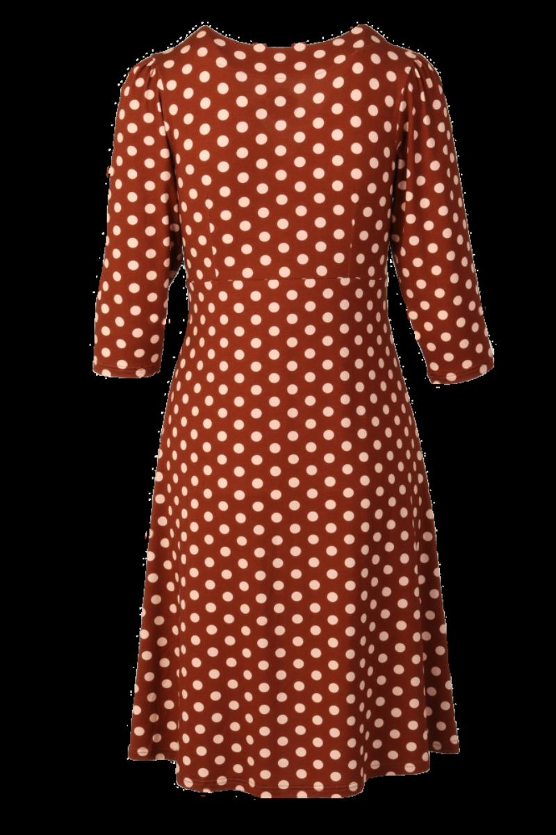 Eirin brun beige polkadot kjole