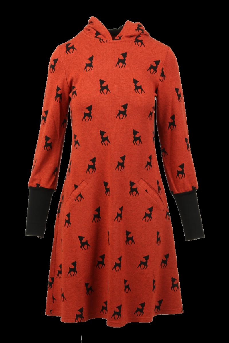 Janfrid oransje sort bambikjole