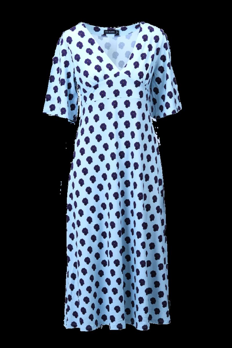 Viola lilla og himmelblå blomstret kjole D83