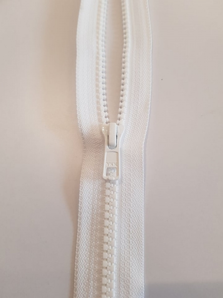 Ykk 6 mm HVIT 50 cm vislon cm glidelås