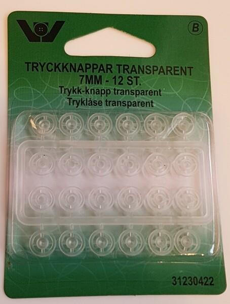 Trykknapp transparant 7 mm - 12 stk