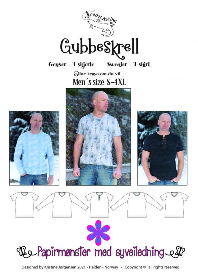 Kreativistine  - Gubbeskrell t-skjorte/genser - papirmønster