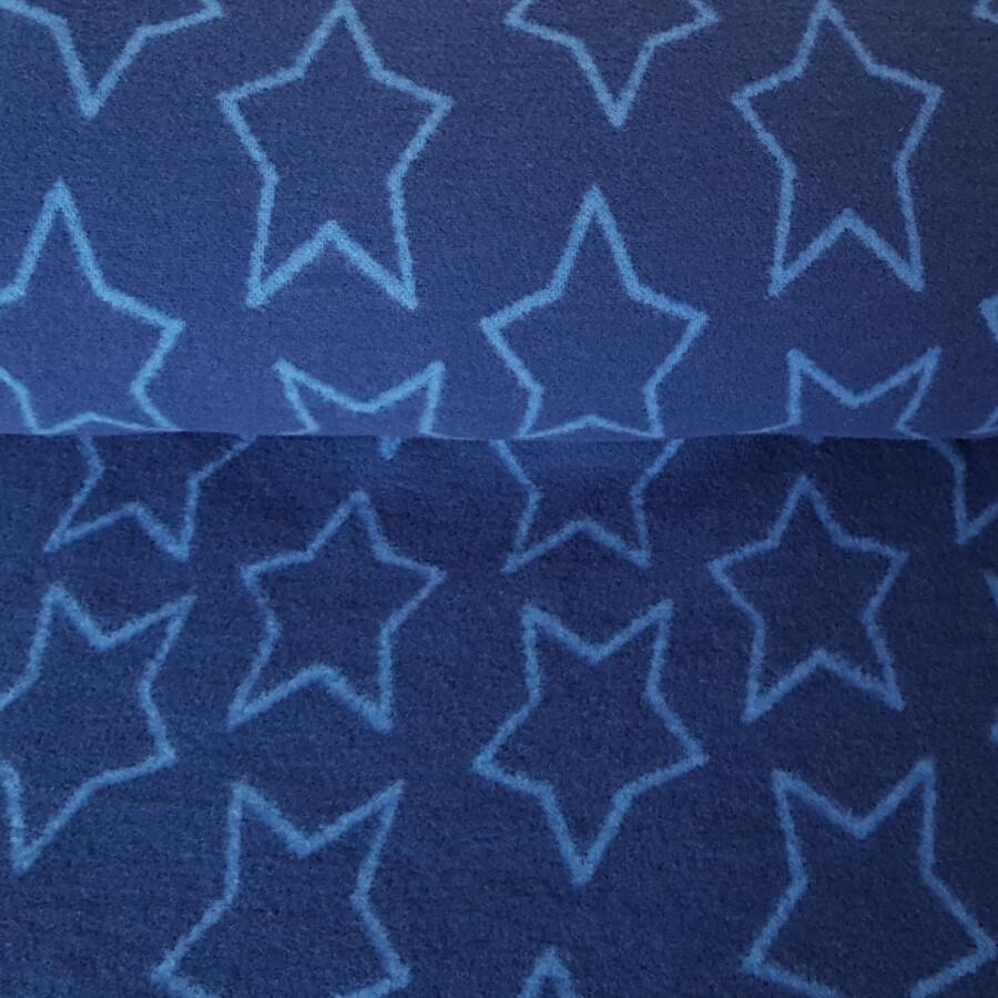 Merinoull-fleece - Stjerner blå