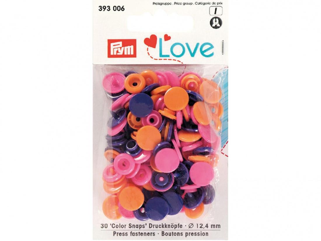 Prym love color snaps - oransje/rosa/lilla