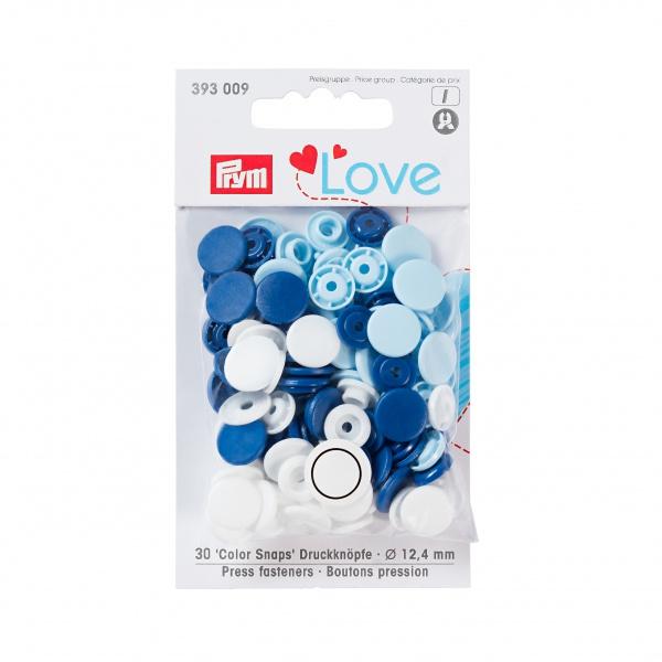 Prym love color snaps - blå/hvit/lysblå