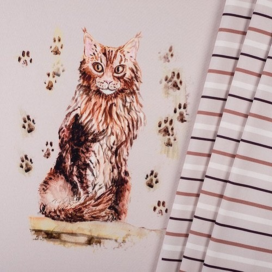 Panel French terry Maine coon kitty