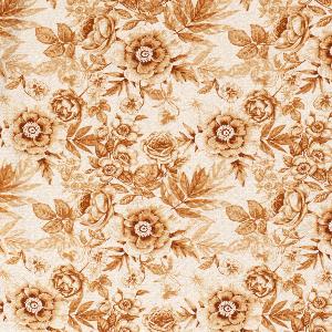 Bilde av Viskose/lin blomster rust
