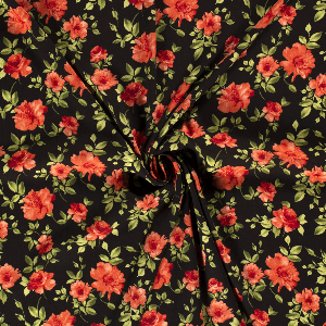 Bilde av Crepe viskose blomster svart