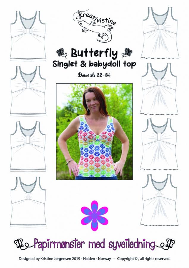Kreativistine  - Butterfly singlet - papirmønster