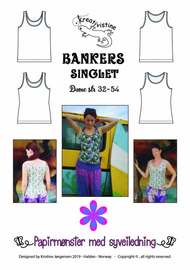 Kreativistine  - Bankers singlet voksen - papirmønster