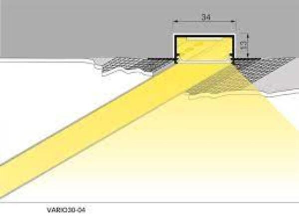 Vario 30-04 aluprofil m/flens 2mtr Opal front. Innfelling