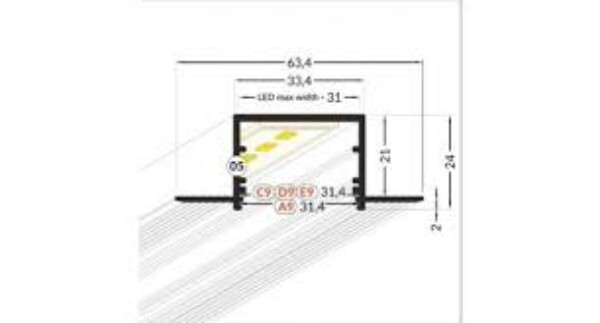 Vario 30-05 aluprofil m/flens 2mtr Opal front. Innfelling