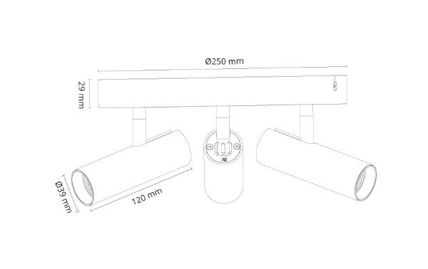 Tube Micro Trio Sort 1020lm 2700K Ra 98 Faseavsnitt