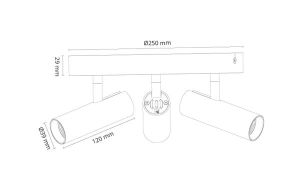 Tube Micro Trio Sort 1050lm 3000K Ra 98 Faseavsnitt