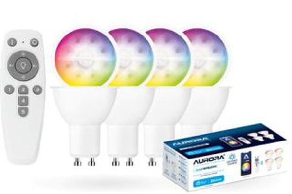 Aone BLE GU10 4X5W RGBW+Remote Smart Kit