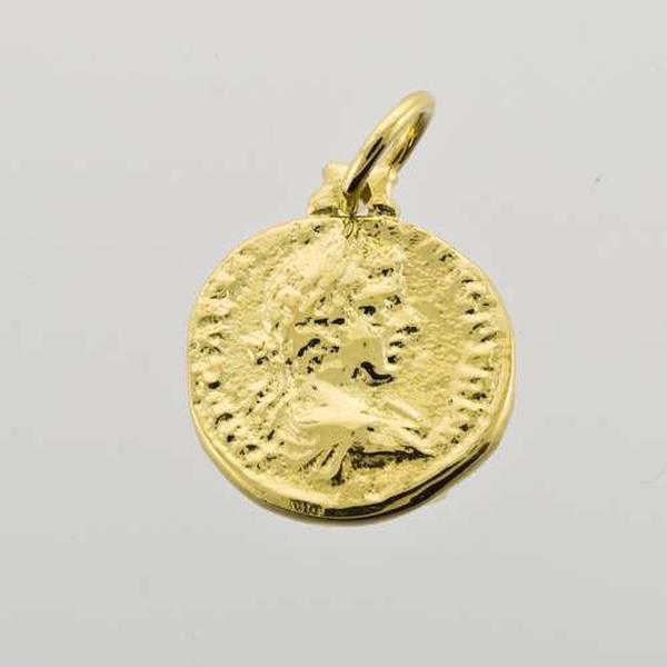 Bilde av Gull mynt anheng med øsken