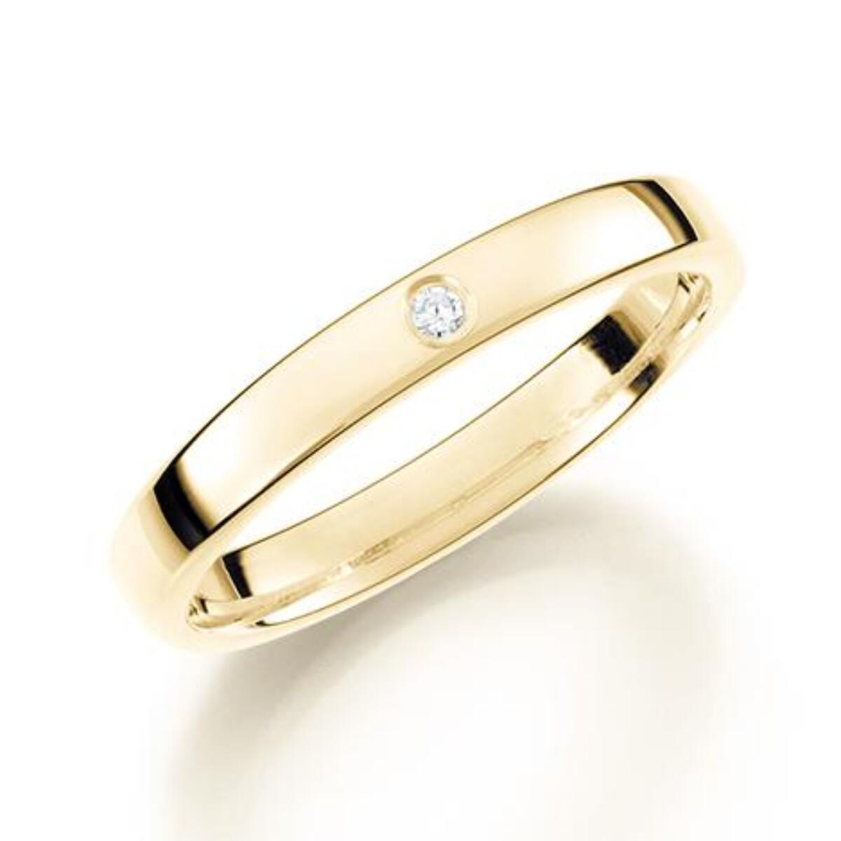 GD Forever Diamant 3mm Gult gull. Glatt Ring