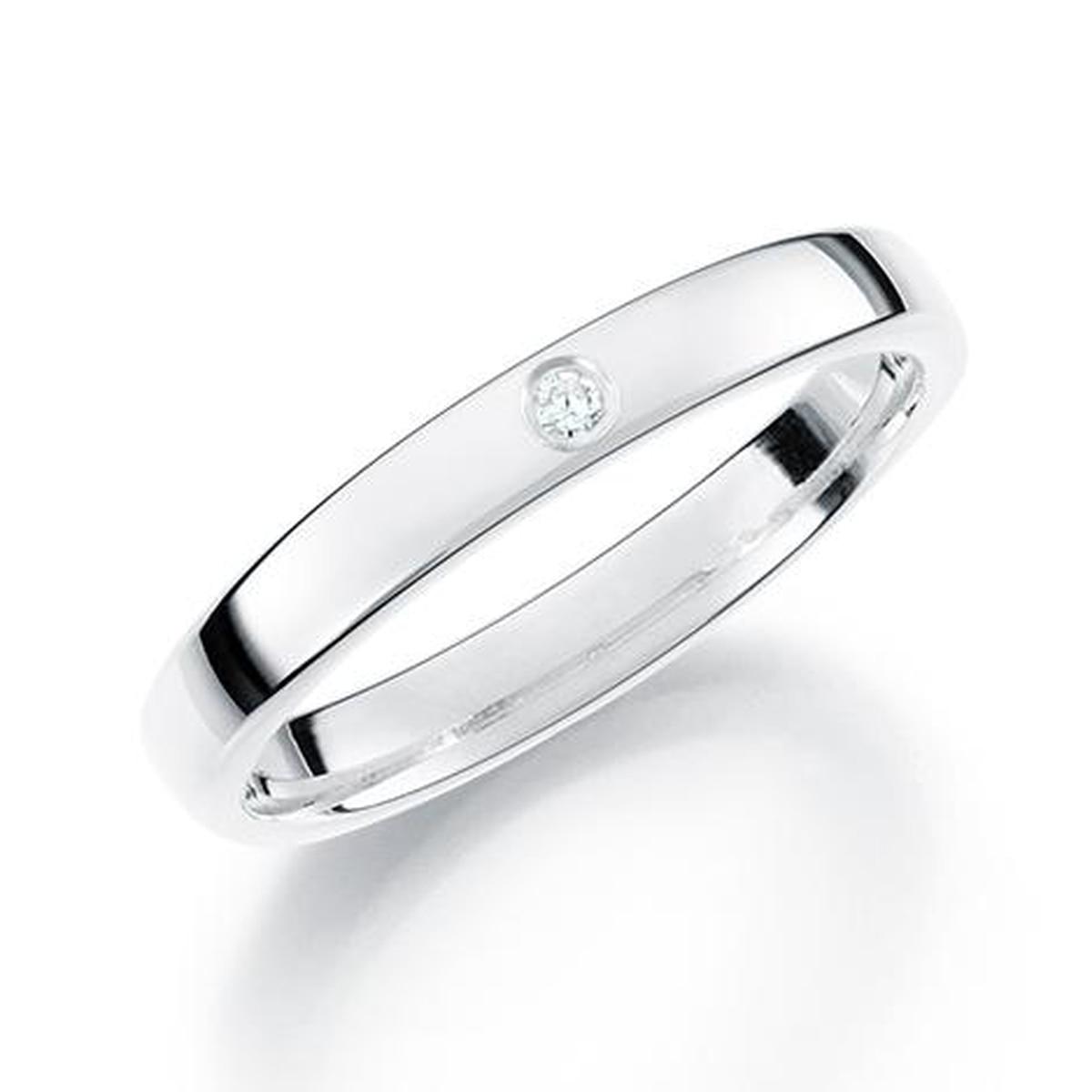 GD Forever Diamant 3mm Hvitt gull. Glatt Ring