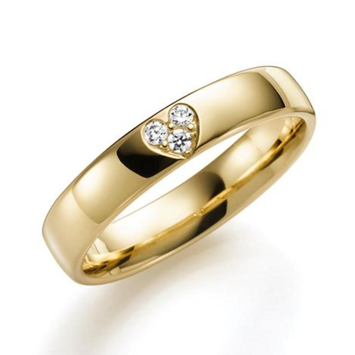 GD Forever Diamant 4mm Gult gull. Glatt Ring
