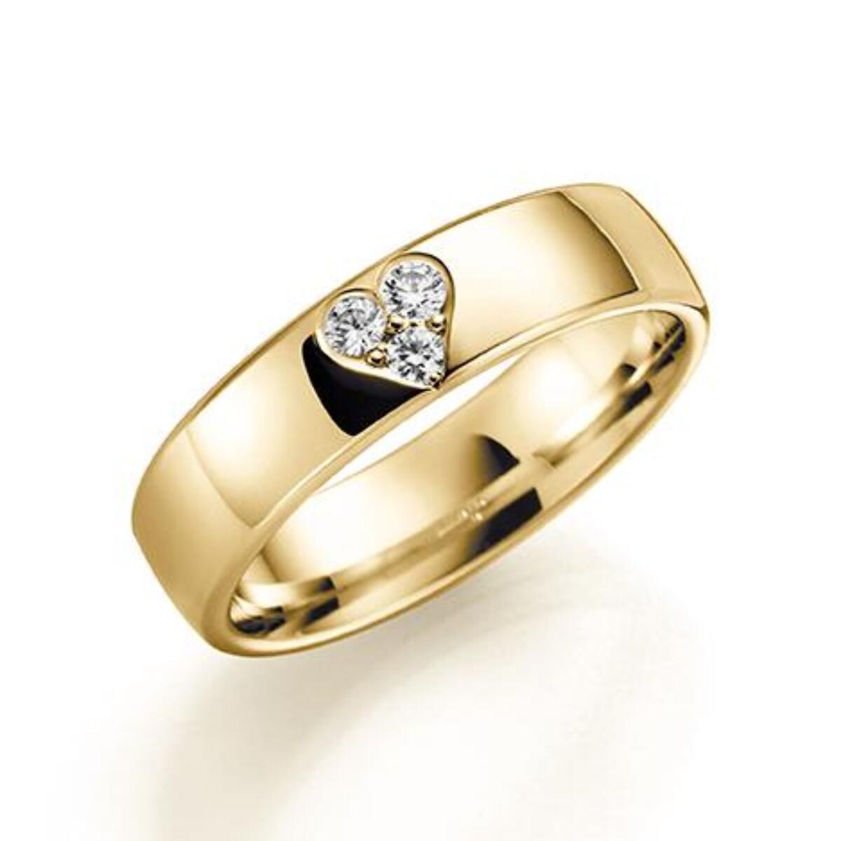 GD Forever Diamant 5mm Gult gull. Glatt Ring