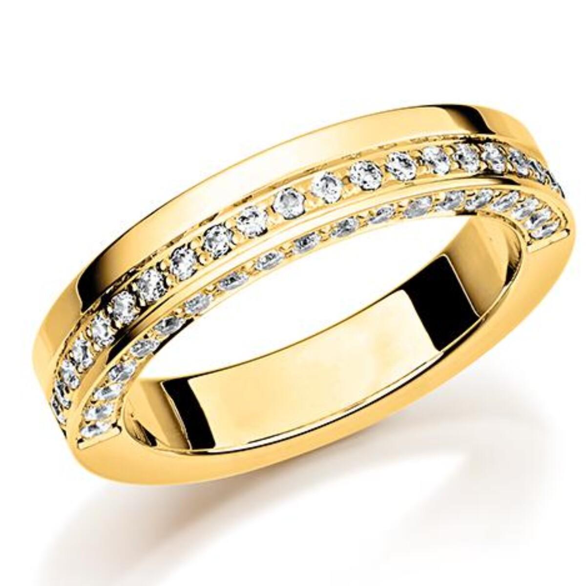 GD Forever Diamant 4mm Gult gull. 2-kantet diamant rekke
