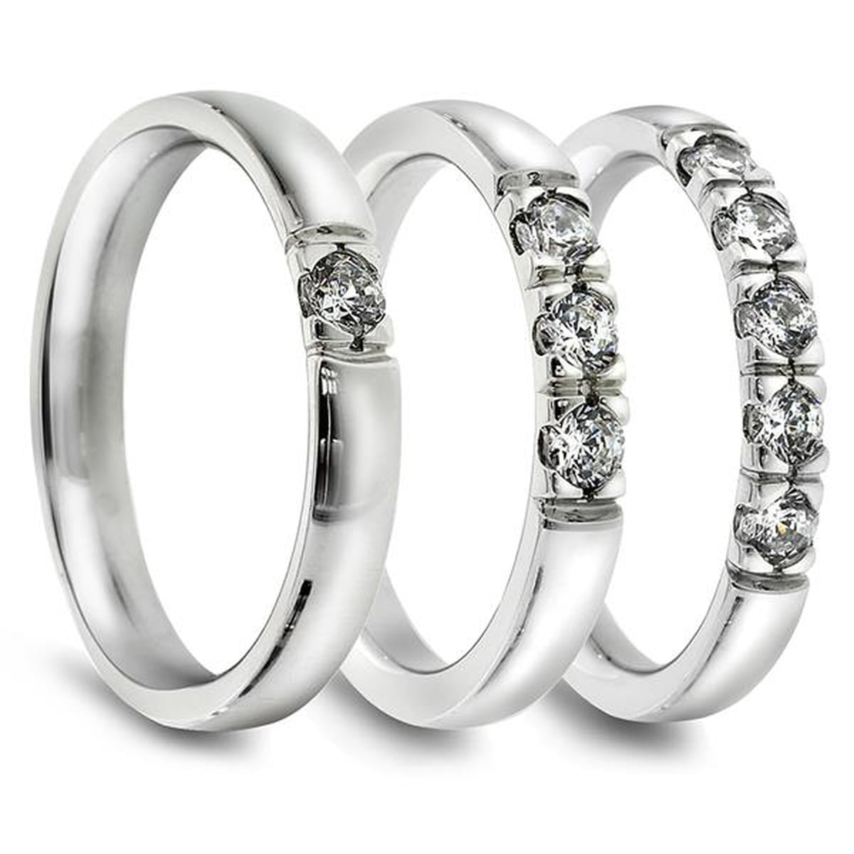Lady Alliansering. 3 stk 0,07 ct diamanter.