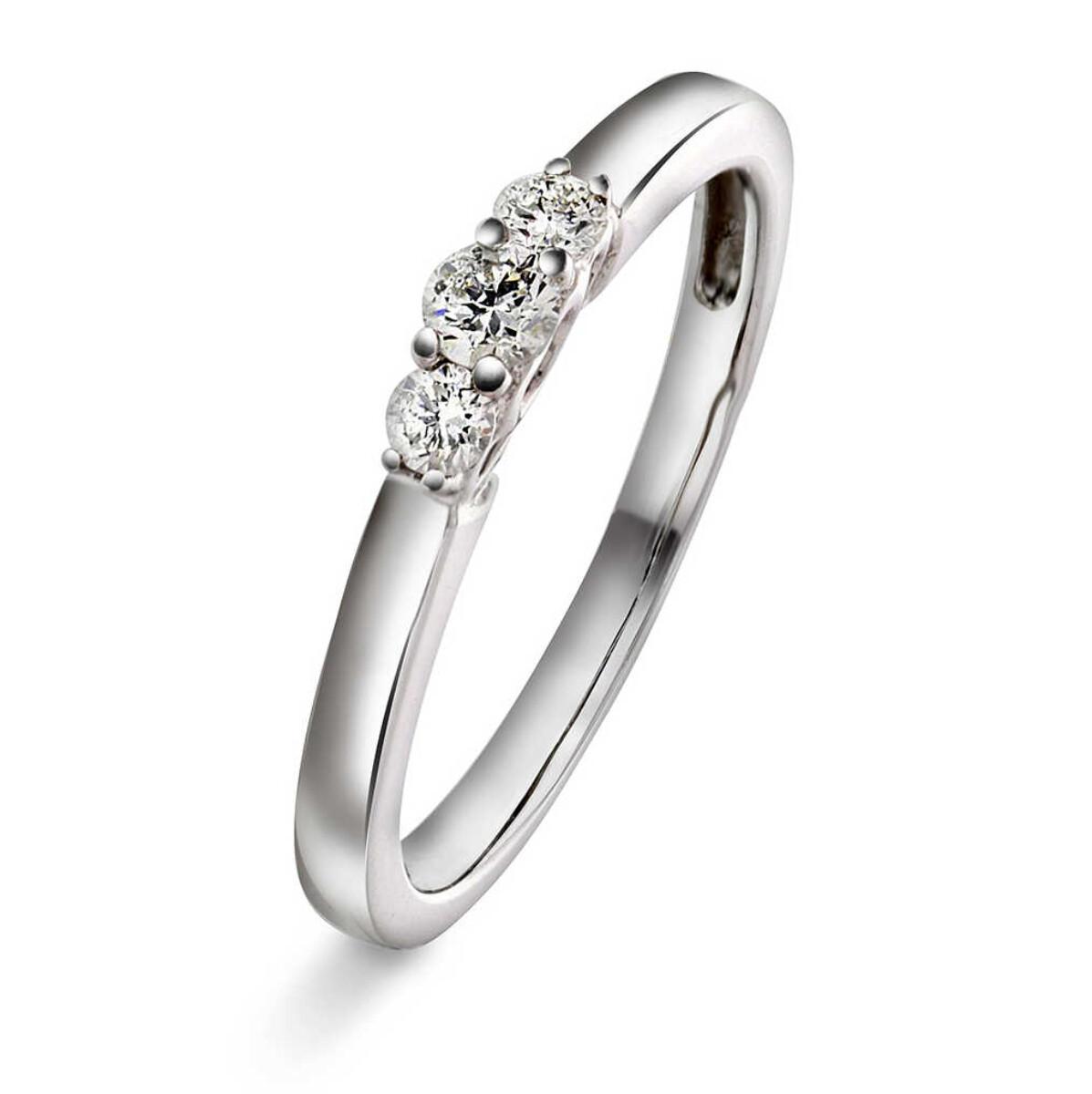 Ring i hvittgull med diamanter 0,20 ct WSI