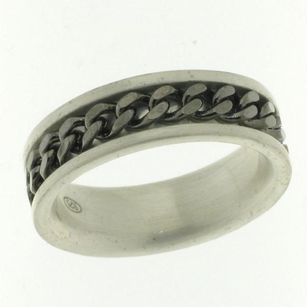 Bilde av Bond ring i sølv - Sølv/sort