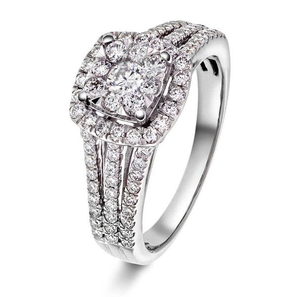 Bilde av WG hvitt gull diamant ring