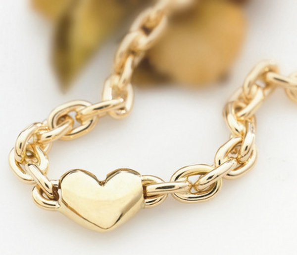 Bilde av Armlenke med hjerte i gull