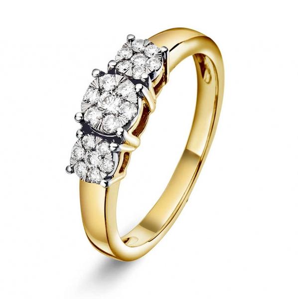 Bilde av Ring i gult gull med diamant