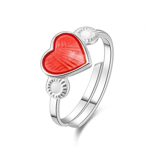 Bilde av Ring sølv - 8 mm Rød hjerte