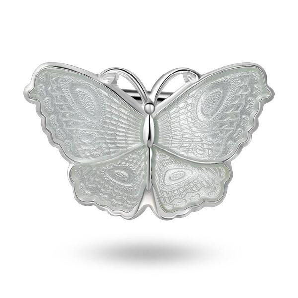 Bilde av Nål i sølv - Hvit sommerfugl