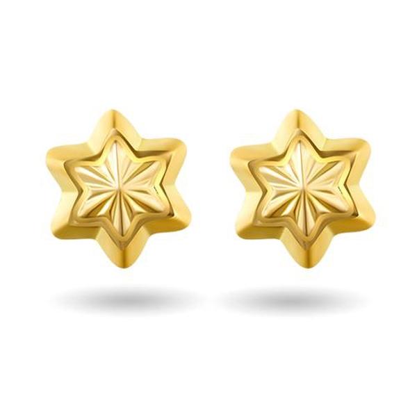 Bilde av Ørepynt i gult gull - Stjerne