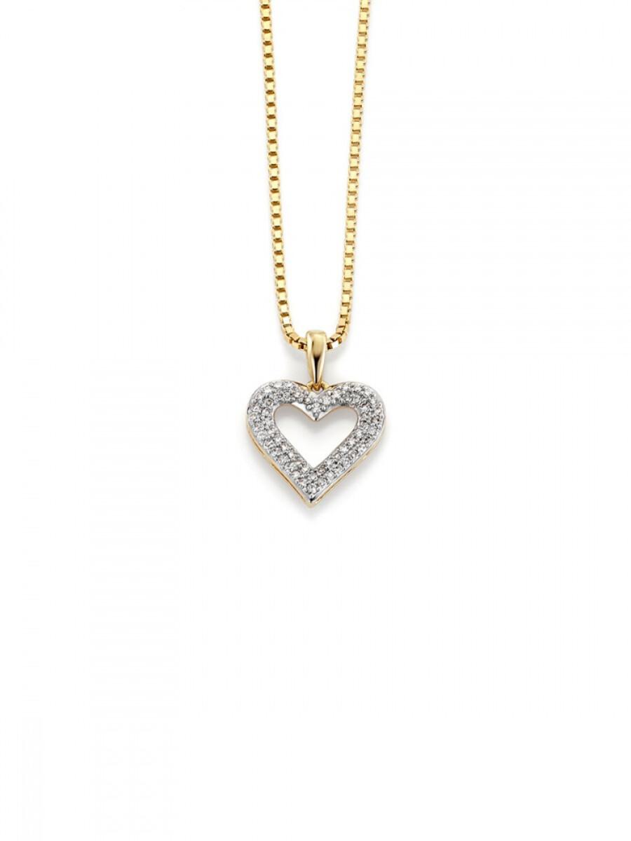 GD Gult Gull anheng med diamanter 0,15ct W.SI
