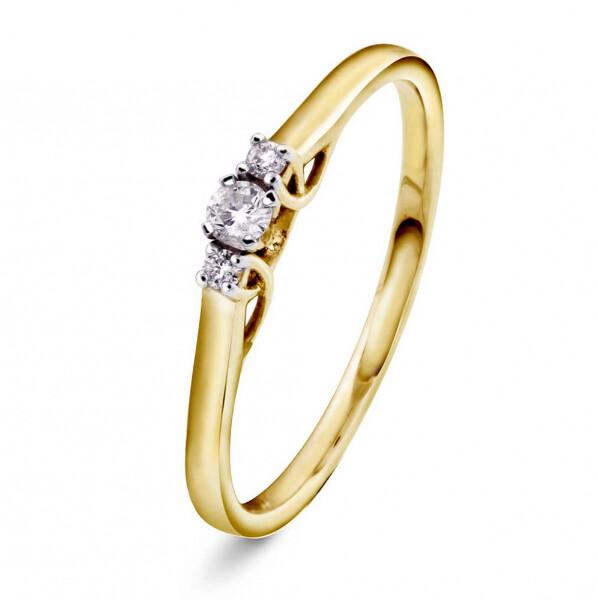 Bilde av Gult gull diamantring 0,08CT