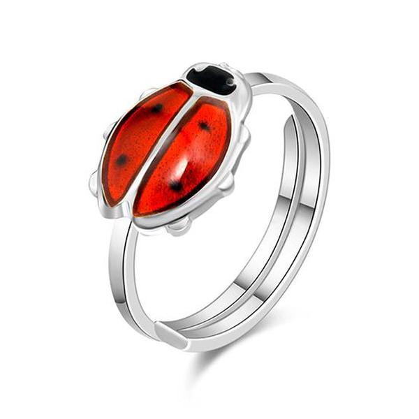 Bilde av Pia & Per Ring i sølv - Rød
