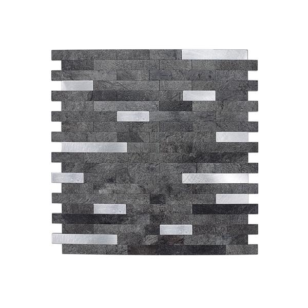 Bilde av Stein mørk grå selvklebende veggfliser